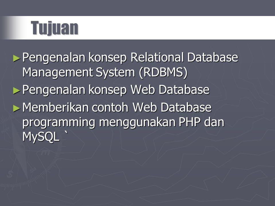 ► Pengenalan konsep Relational Database Management System (RDBMS) ► Pengenalan konsep Web Database ► Memberikan contoh Web Database programming menggu