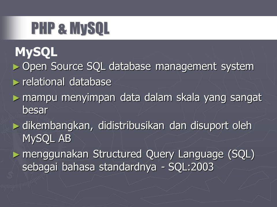 ► Open Source SQL database management system ► relational database ► mampu menyimpan data dalam skala yang sangat besar ► dikembangkan, didistribusika