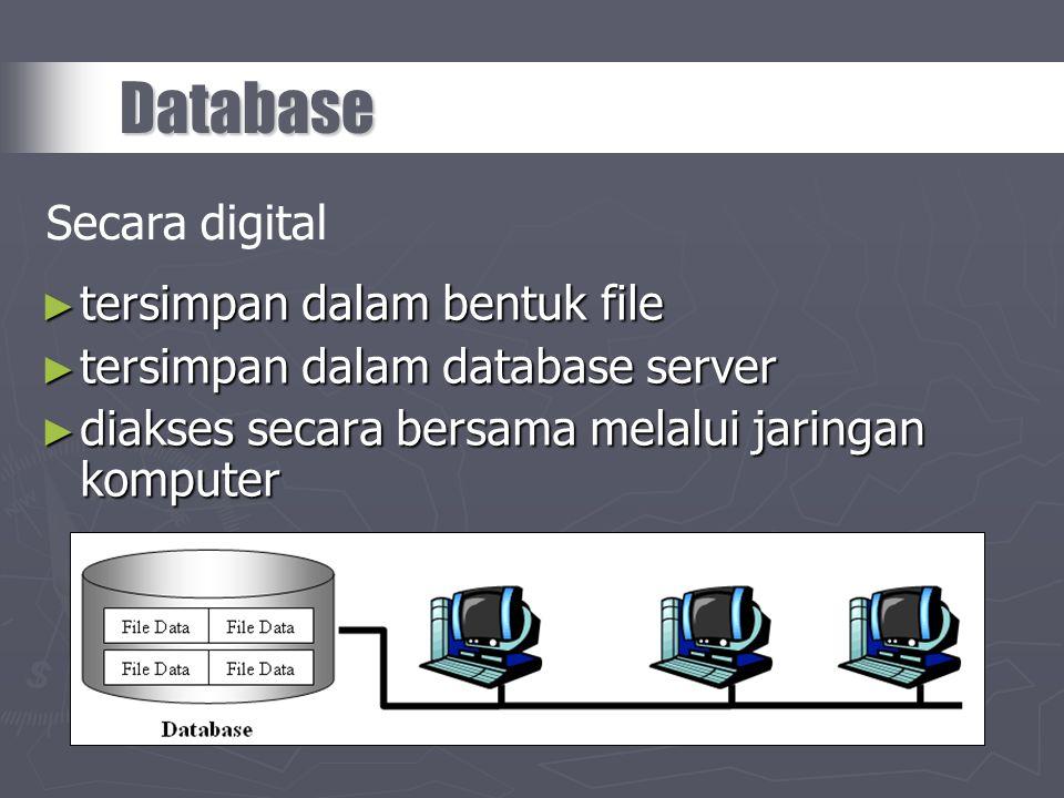 ► tersimpan dalam bentuk file ► tersimpan dalam database server ► diakses secara bersama melalui jaringan komputer Database Secara digital