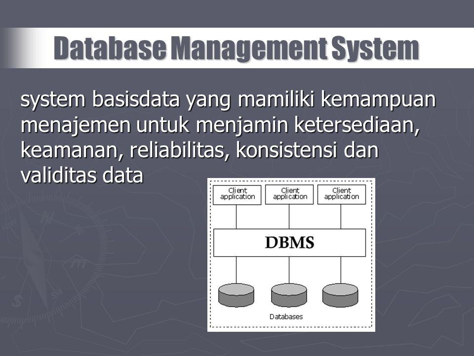 system basisdata yang mamiliki kemampuan menajemen untuk menjamin ketersediaan, keamanan, reliabilitas, konsistensi dan validitas data Database Manage