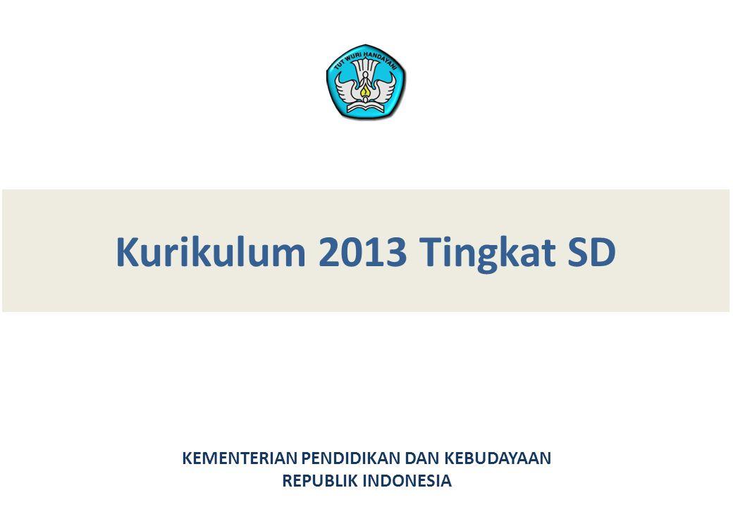 Kurikulum 2013 Tingkat SD KEMENTERIAN PENDIDIKAN DAN KEBUDAYAAN REPUBLIK INDONESIA