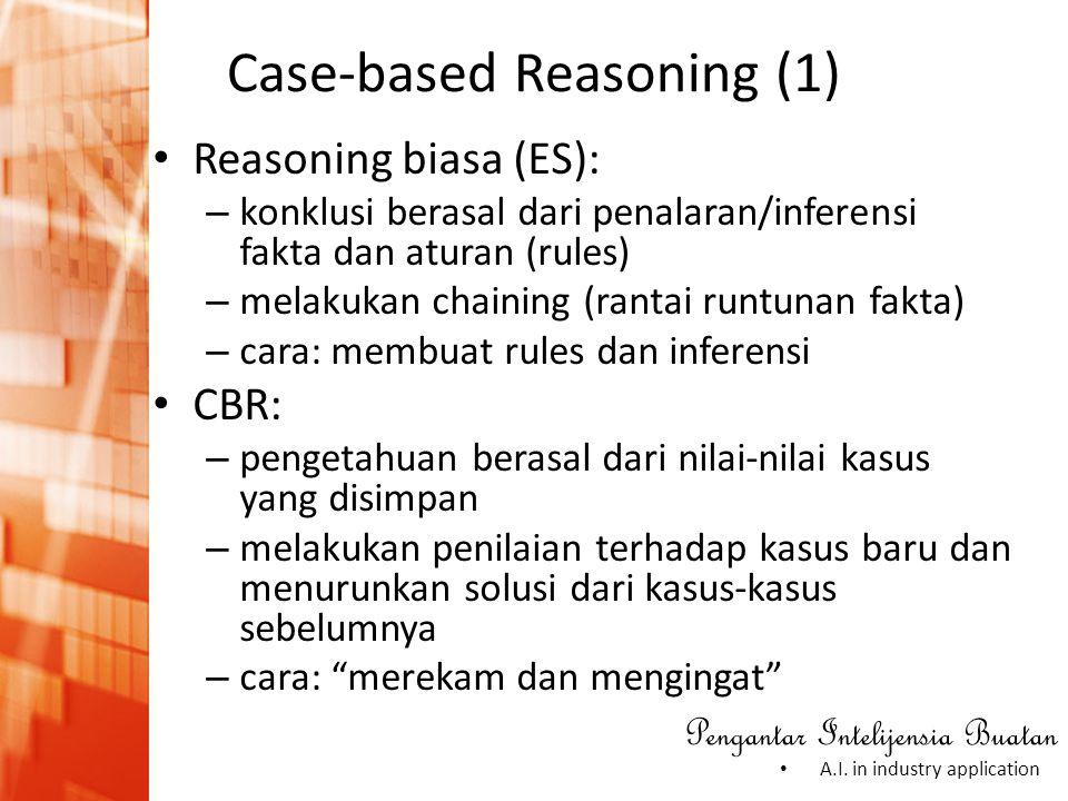 Pengantar Intelijensia Buatan • A.I. in industry application Case-based Reasoning (1) • Reasoning biasa (ES): – konklusi berasal dari penalaran/infere