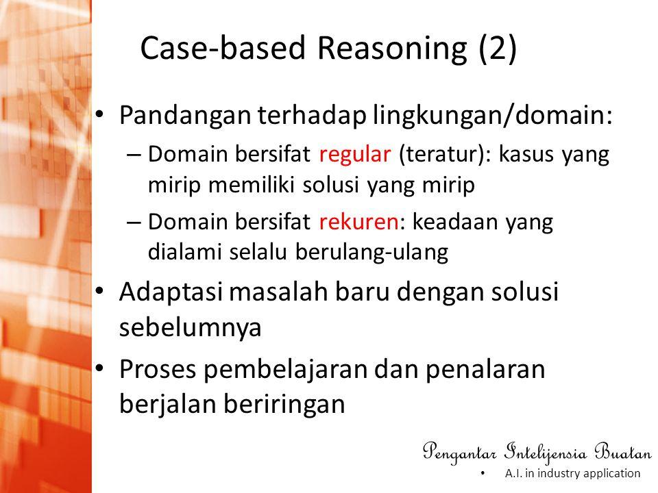 Pengantar Intelijensia Buatan • A.I. in industry application Case-based Reasoning (2) • Pandangan terhadap lingkungan/domain: – Domain bersifat regula