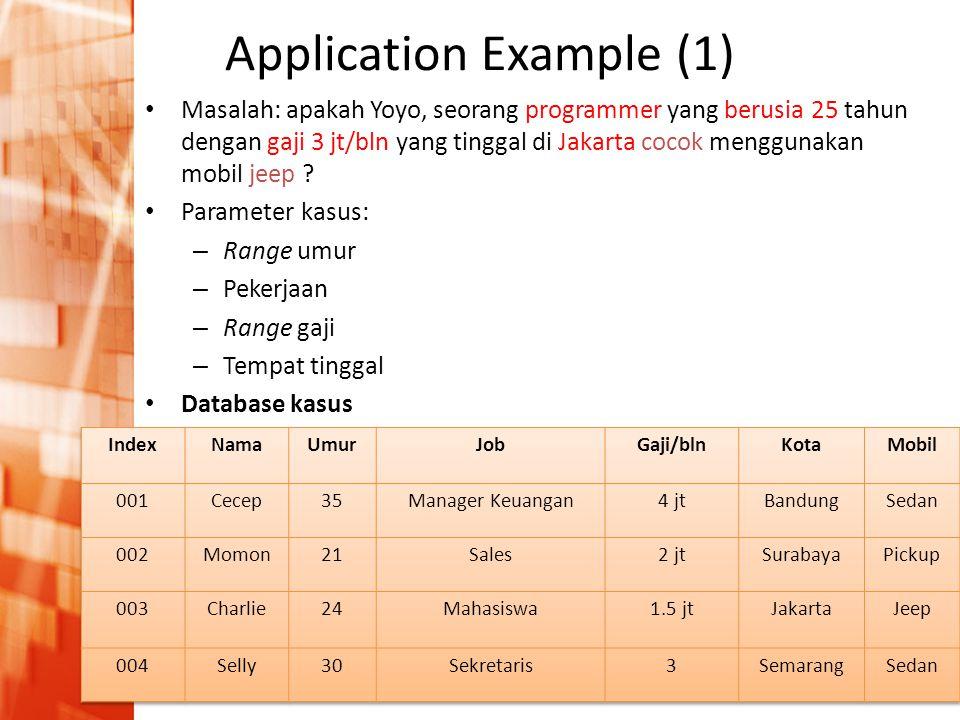 Pengantar Intelijensia Buatan • A.I. in industry application Application Example (1) • Masalah: apakah Yoyo, seorang programmer yang berusia 25 tahun