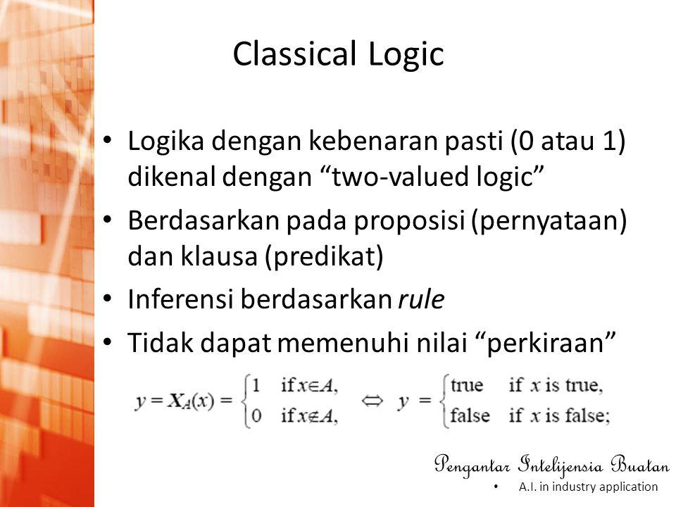 "Pengantar Intelijensia Buatan • A.I. in industry application • Logika dengan kebenaran pasti (0 atau 1) dikenal dengan ""two-valued logic"" • Berdasarka"