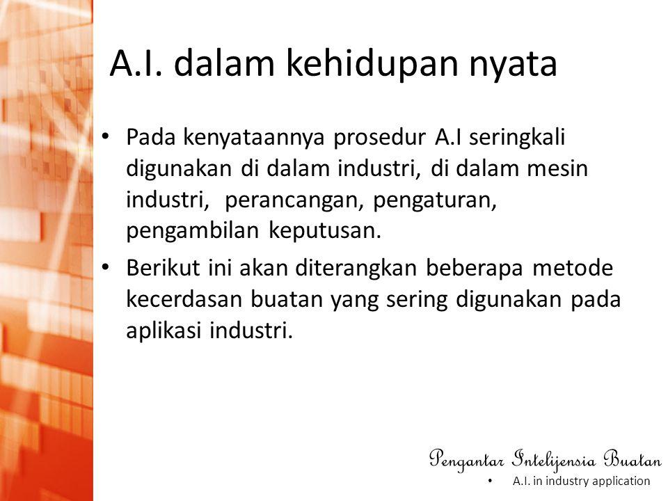 Pengantar Intelijensia Buatan • A.I. in industry application A.I. dalam kehidupan nyata • Pada kenyataannya prosedur A.I seringkali digunakan di dalam