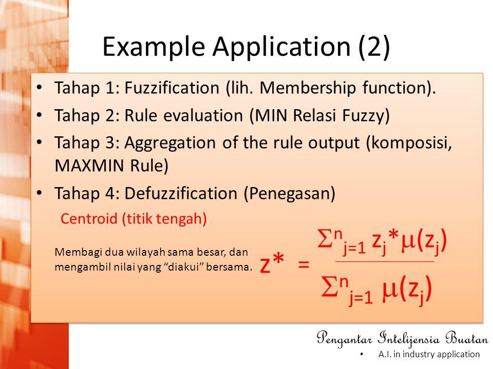 Pengantar Intelijensia Buatan • A.I. in industry application • Tahap 1: Fuzzification (lih. Membership function). • Tahap 2: Rule evaluation (MIN Rela