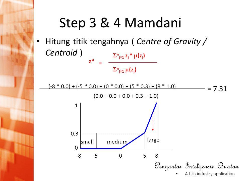 Pengantar Intelijensia Buatan • A.I. in industry application • Hitung titik tengahnya ( Centre of Gravity / Centroid ) (-8 * 0.0) + (-5 * 0.0) + (0 *