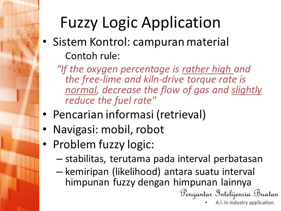 "Pengantar Intelijensia Buatan • A.I. in industry application • Sistem Kontrol: campuran material Contoh rule: ""If the oxygen percentage is rather high"