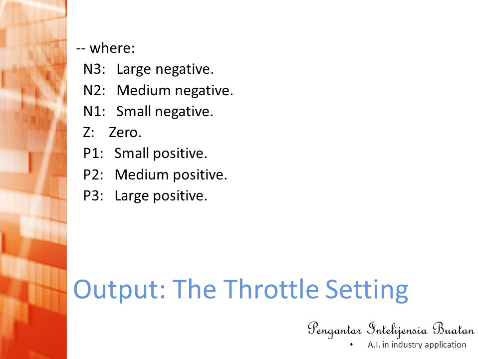 Pengantar Intelijensia Buatan • A.I. in industry application Output: The Throttle Setting -- where: N3: Large negative. N2: Medium negative. N1: Small