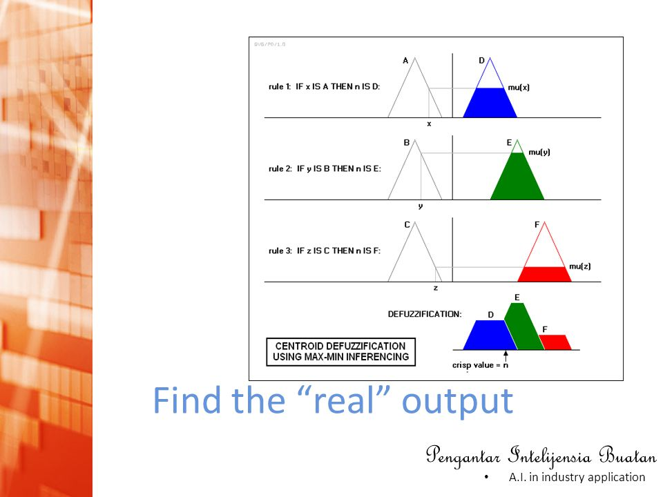 """Pengantar Intelijensia Buatan • A.I. in industry application Find the """"real"""" output"""