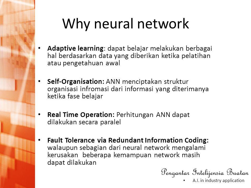 Pengantar Intelijensia Buatan • A.I. in industry application Why neural network • Adaptive learning: dapat belajar melakukan berbagai hal berdasarkan