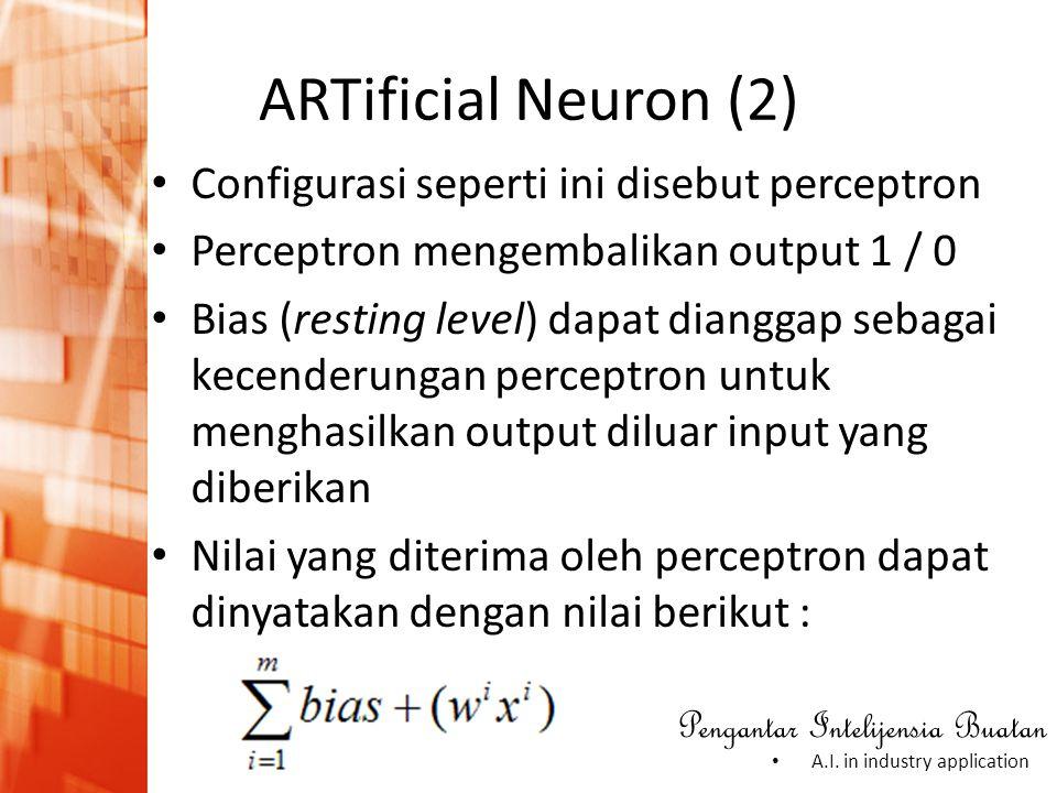 Pengantar Intelijensia Buatan • A.I. in industry application ARTificial Neuron (2) • Configurasi seperti ini disebut perceptron • Perceptron mengembal