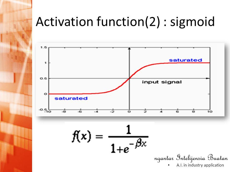 Pengantar Intelijensia Buatan • A.I. in industry application Activation function(2) : sigmoid