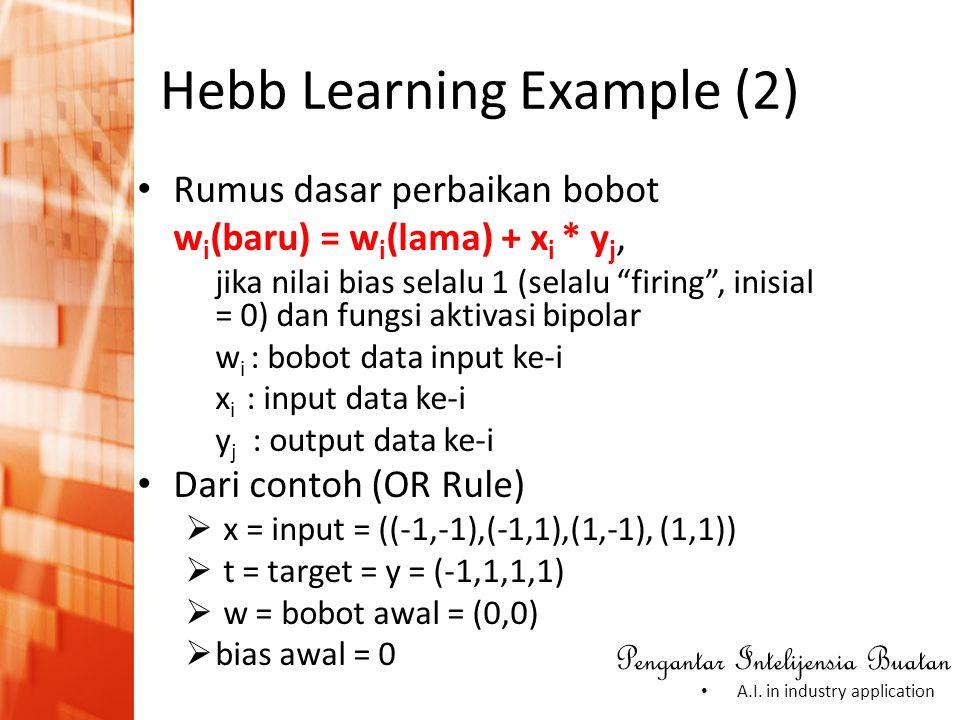 Pengantar Intelijensia Buatan • A.I. in industry application Hebb Learning Example (2) • Rumus dasar perbaikan bobot w i (baru) = w i (lama) + x i * y