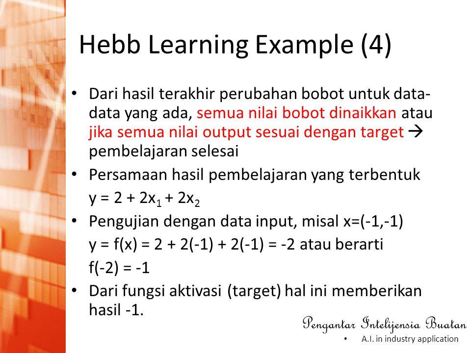 Pengantar Intelijensia Buatan • A.I. in industry application Hebb Learning Example (4) • Dari hasil terakhir perubahan bobot untuk data- data yang ada
