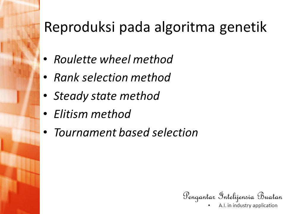 Pengantar Intelijensia Buatan • A.I. in industry application • Roulette wheel method • Rank selection method • Steady state method • Elitism method •