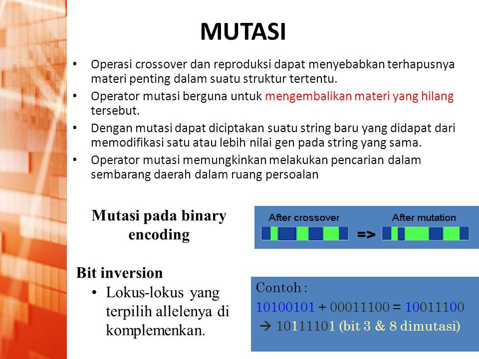 Pengantar Intelijensia Buatan • A.I. in industry application MUTASI • Operasi crossover dan reproduksi dapat menyebabkan terhapusnya materi penting da