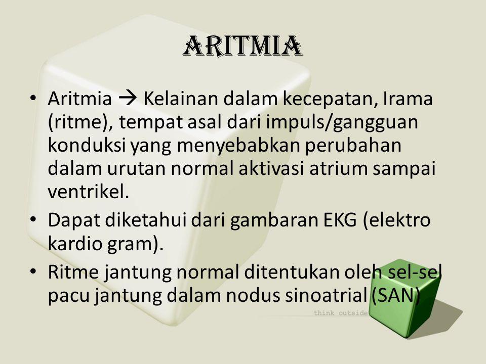 ARITMIA • Aritmia  Kelainan dalam kecepatan, Irama (ritme), tempat asal dari impuls/gangguan konduksi yang menyebabkan perubahan dalam urutan normal