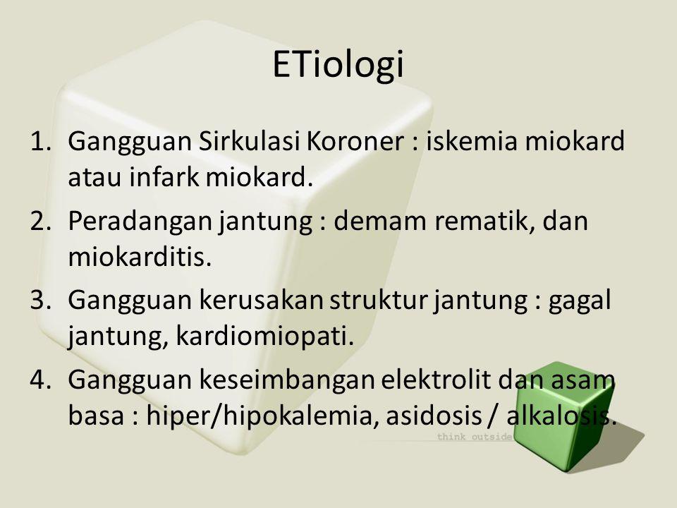 ETiologi 1.Gangguan Sirkulasi Koroner : iskemia miokard atau infark miokard. 2.Peradangan jantung : demam rematik, dan miokarditis. 3.Gangguan kerusak