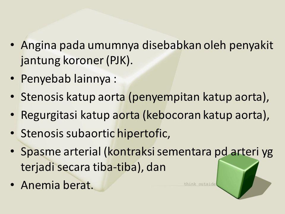 • Angina pada umumnya disebabkan oleh penyakit jantung koroner (PJK). • Penyebab lainnya : • Stenosis katup aorta (penyempitan katup aorta), • Regurgi