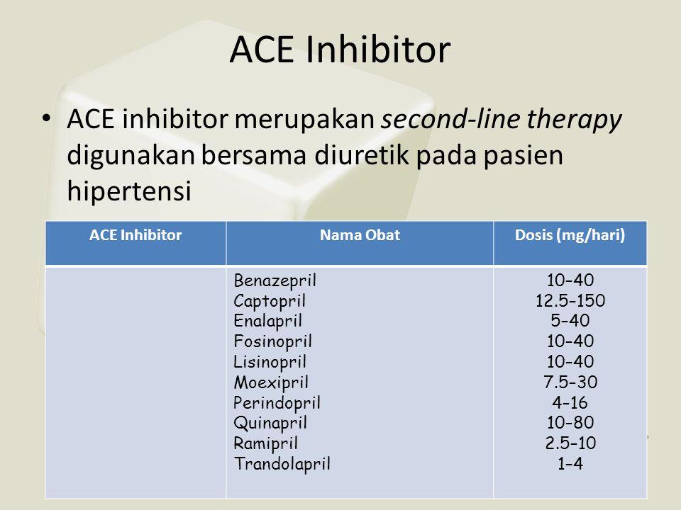ACE Inhibitor • ACE inhibitor merupakan second-line therapy digunakan bersama diuretik pada pasien hipertensi ACE InhibitorNama ObatDosis (mg/hari) Be