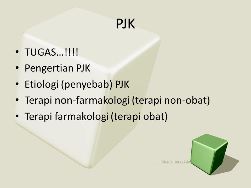 PJK • TUGAS…!!!! • Pengertian PJK • Etiologi (penyebab) PJK • Terapi non-farmakologi (terapi non-obat) • Terapi farmakologi (terapi obat)