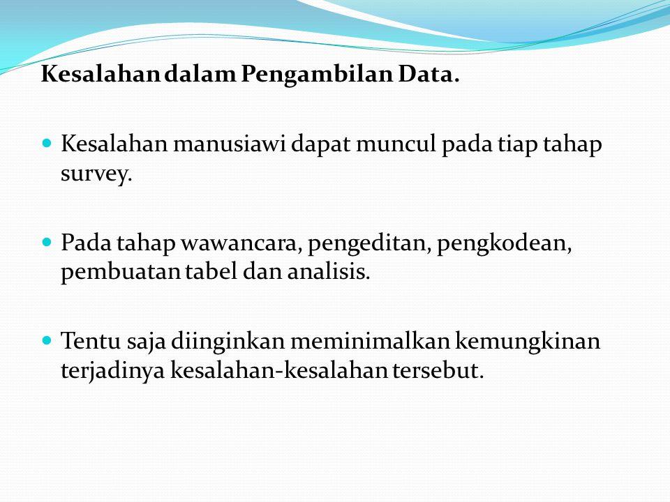 Kesalahan dalam Pengambilan Data. Kesalahan manusiawi dapat muncul pada tiap tahap survey.