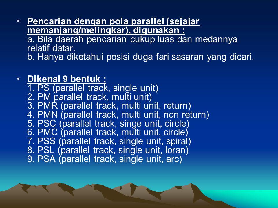 •P•Pencarian dengan pola parallel (sejajar memanjang/melingkar), digunakan : a. Bila daerah pencarian cukup luas dan medannya relatif datar. b. Hanya