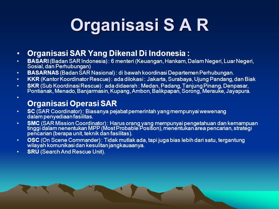 Organisasi S A R •O•Organisasi SAR Yang Dikenal Di Indonesia : •B•BASARI (Badan SAR Indonesia) : 6 menteri (Keuangan, Hankam, Dalam Negeri, Luar Neger