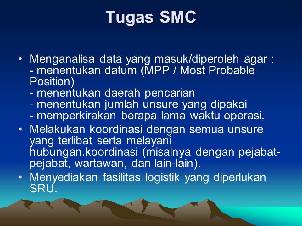 Tugas SMC •Menganalisa data yang masuk/diperoleh agar : - menentukan datum (MPP / Most Probable Position) - menentukan daerah pencarian - menentukan j