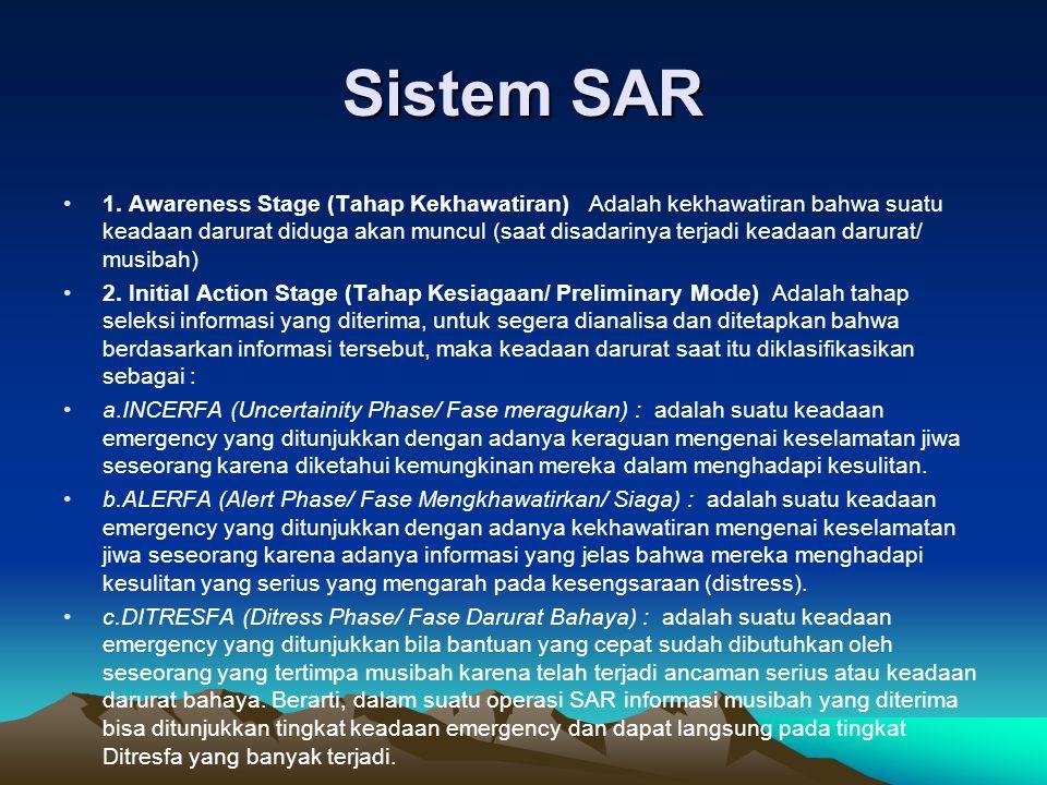 Sistem SAR •1. Awareness Stage (Tahap Kekhawatiran) Adalah kekhawatiran bahwa suatu keadaan darurat diduga akan muncul (saat disadarinya terjadi keada