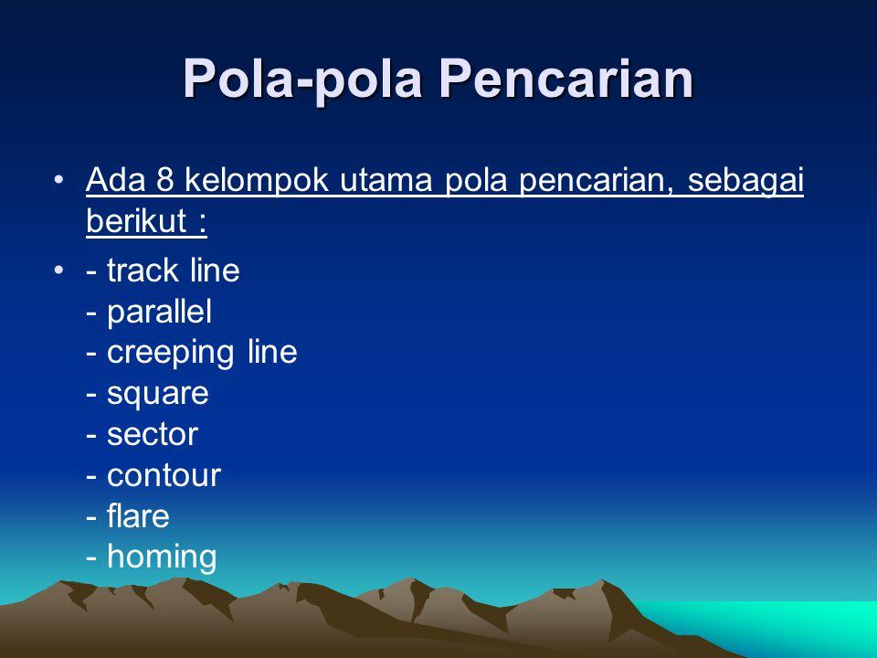Pola-pola Pencarian •Ada 8 kelompok utama pola pencarian, sebagai berikut : •- track line - parallel - creeping line - square - sector - contour - fla