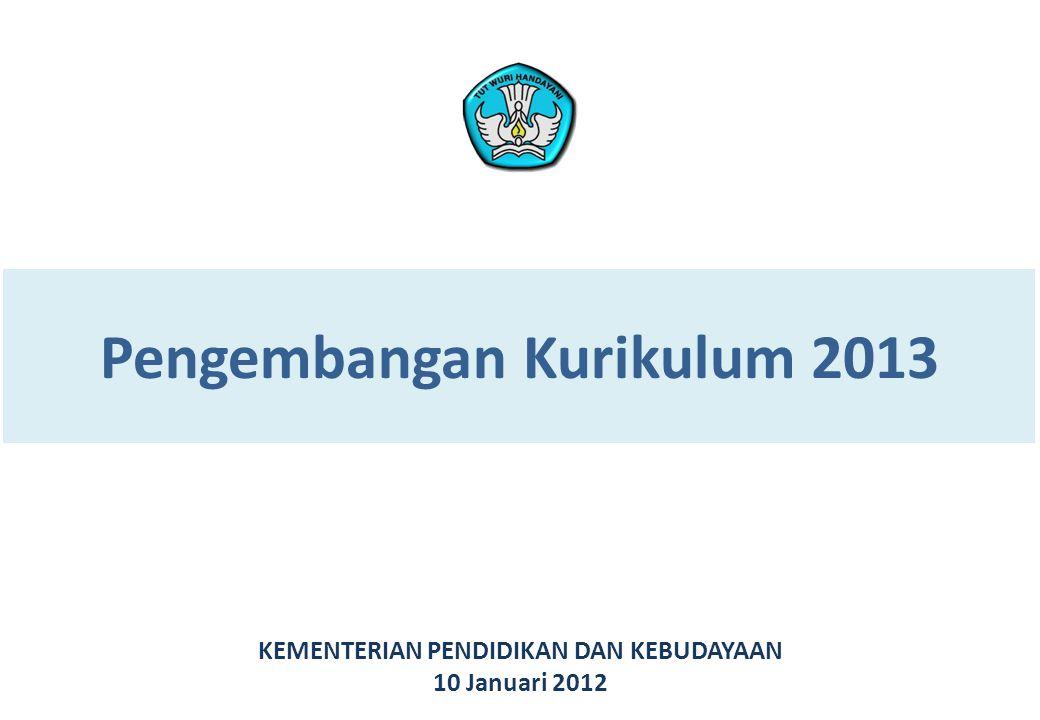 Pengembangan Kurikulum 2013 KEMENTERIAN PENDIDIKAN DAN KEBUDAYAAN 10 Januari 2012