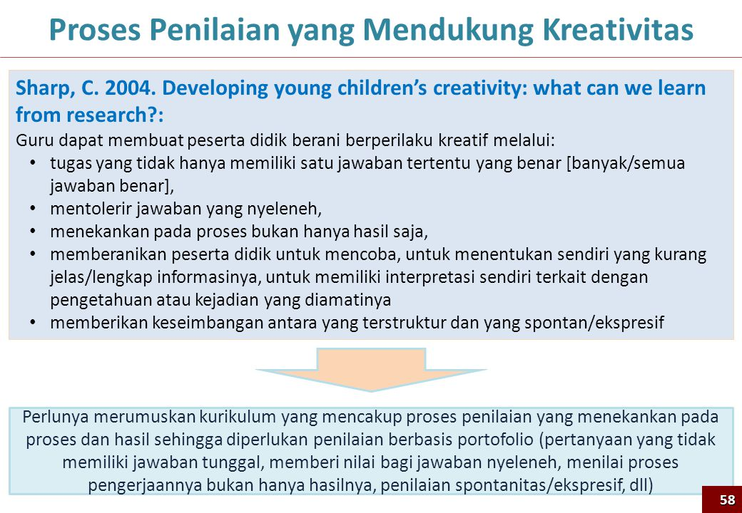 58 Proses Penilaian yang Mendukung Kreativitas Sharp, C. 2004. Developing young children's creativity: what can we learn from research?: Guru dapat me