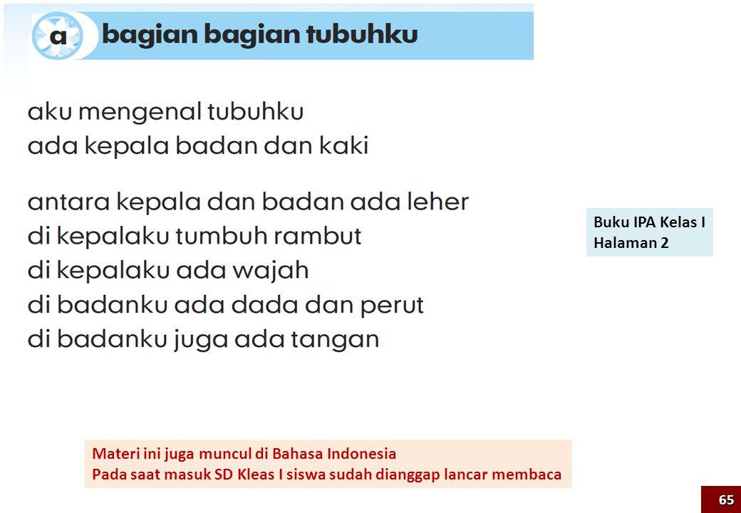 Buku IPA Kelas I Halaman 2 Materi ini juga muncul di Bahasa Indonesia Pada saat masuk SD Kleas I siswa sudah dianggap lancar membaca 65