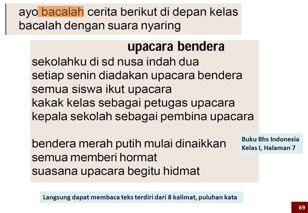 Buku Bhs Indonesia Kelas I, Halaman 7 Langsung dapat membaca teks terdiri dari 8 kalimat, puluhan kata 69