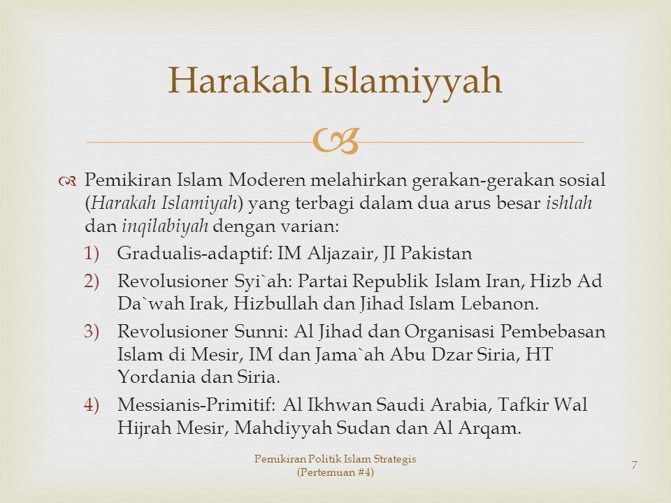   Pemikiran Islam Moderen melahirkan gerakan-gerakan sosial ( Harakah Islamiyah ) yang terbagi dalam dua arus besar ishlah dan inqilabiyah dengan va