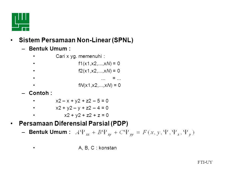 FTI-UY •Sistem Persamaan Non-Linear (SPNL) –Bentuk Umum : •Cari x yg.