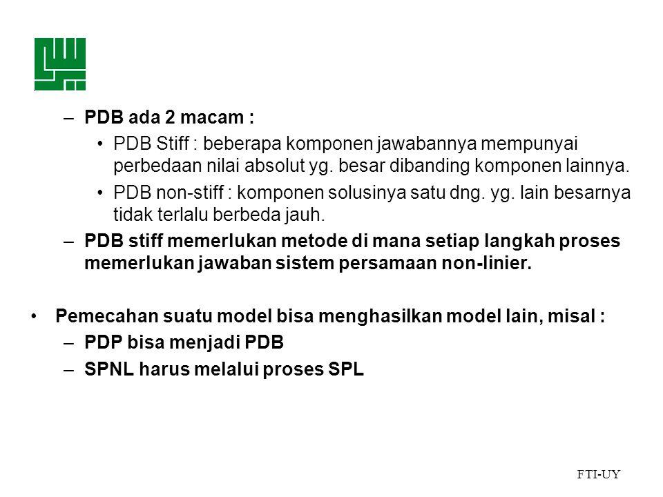 FTI-UY –PDB ada 2 macam : •PDB Stiff : beberapa komponen jawabannya mempunyai perbedaan nilai absolut yg.