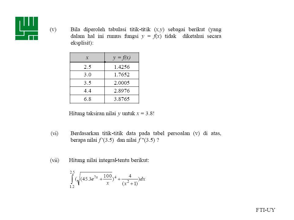 FTI-UY • Perhitungan ilmiah dalam komputer biasanya dilakukan dalam aritmetika titik mengambang ( floating-point ).