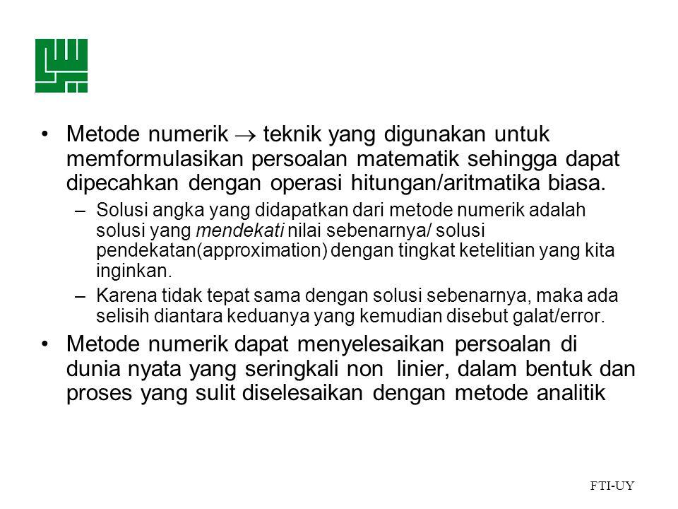 FTI-UY Mengapa menggunakan Metode Numerik .