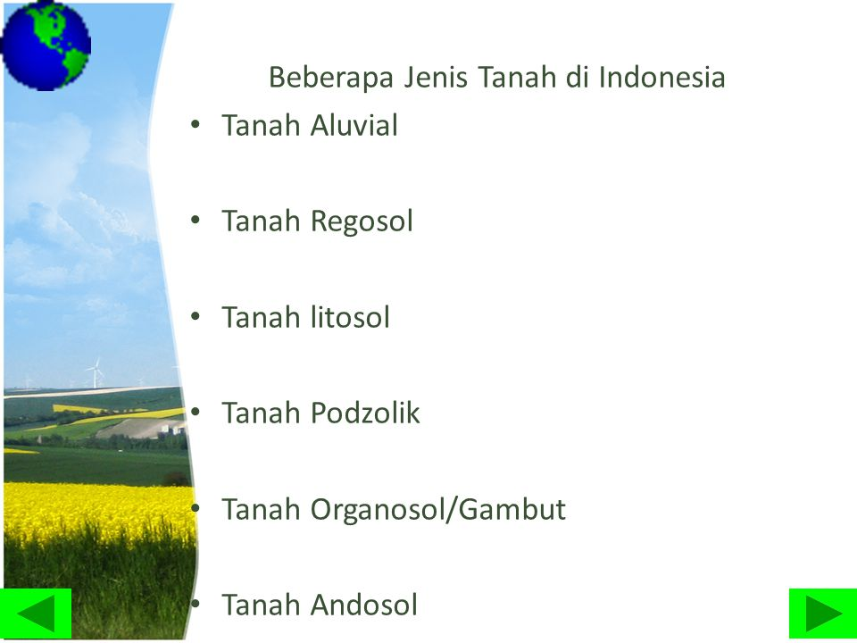 Beberapa Jenis Tanah di Indonesia • Tanah Aluvial • Tanah Regosol • Tanah litosol • Tanah Podzolik • Tanah Organosol/Gambut • Tanah Andosol