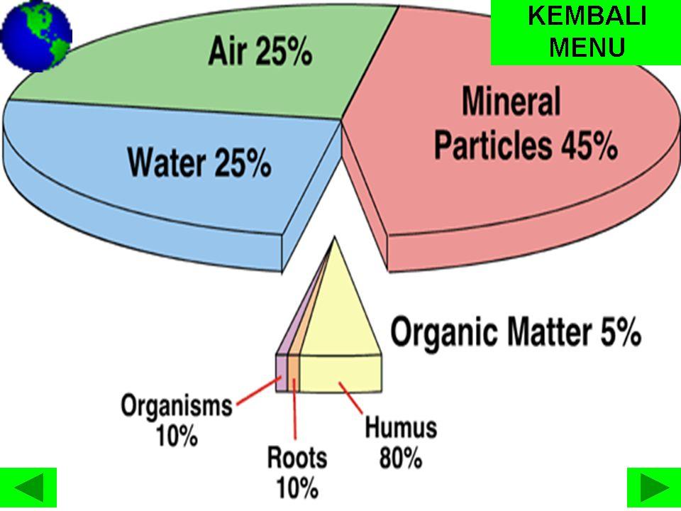 Tekstur Tanah terdiri berbagai ukuran yang dibagi menjadi tiga ukuran utama yaitu: • Pasir yang ukurannya 2 – 0,06 mm • Liat atau lempung berukuran 0,06 – 0,002 mm • Debu atau lanau berukuran lebih kecil dari 0,002 mm