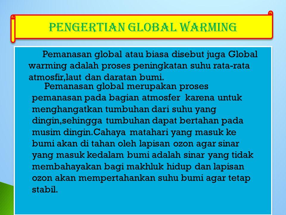 Pemanasan global atau biasa disebut juga Global warming adalah proses peningkatan suhu rata-rata atmosfir,laut dan daratan bumi.