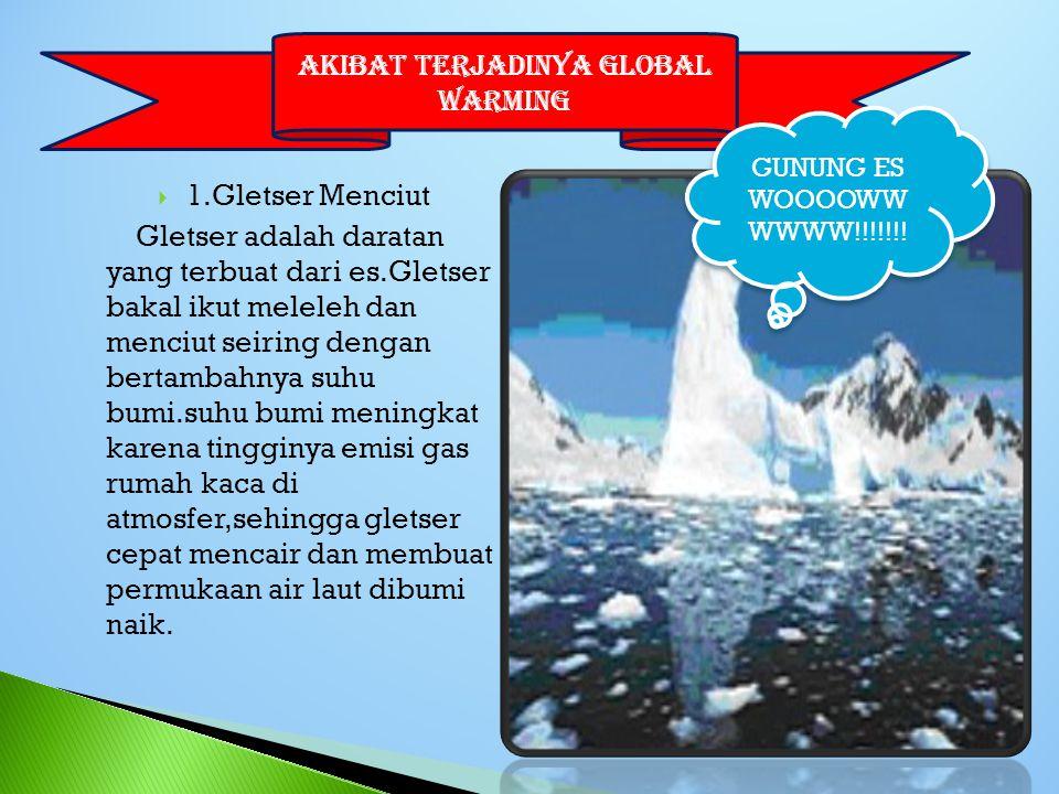  1.Gletser Menciut Gletser adalah daratan yang terbuat dari es.Gletser bakal ikut meleleh dan menciut seiring dengan bertambahnya suhu bumi.suhu bumi meningkat karena tingginya emisi gas rumah kaca di atmosfer,sehingga gletser cepat mencair dan membuat permukaan air laut dibumi naik.