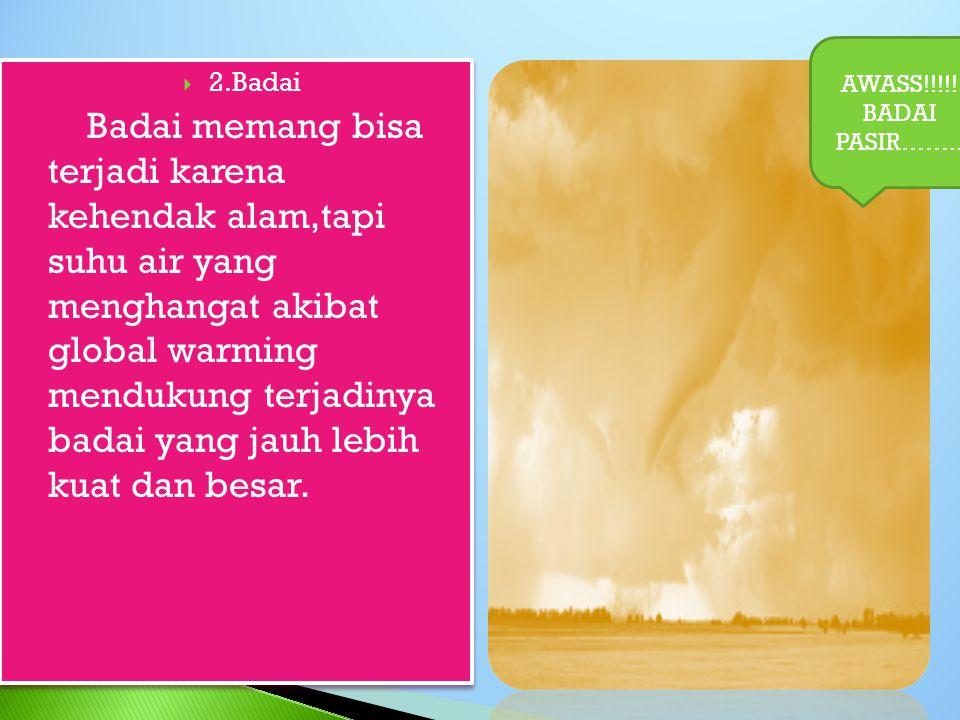  2.Badai Badai memang bisa terjadi karena kehendak alam,tapi suhu air yang menghangat akibat global warming mendukung terjadinya badai yang jauh lebih kuat dan besar.