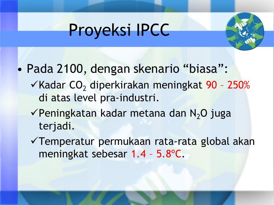 """Proyeksi IPCC •Pada 2100, dengan skenario """"biasa"""":  Kadar CO 2 diperkirakan meningkat 90 – 250% di atas level pra-industri.  Peningkatan kadar metan"""