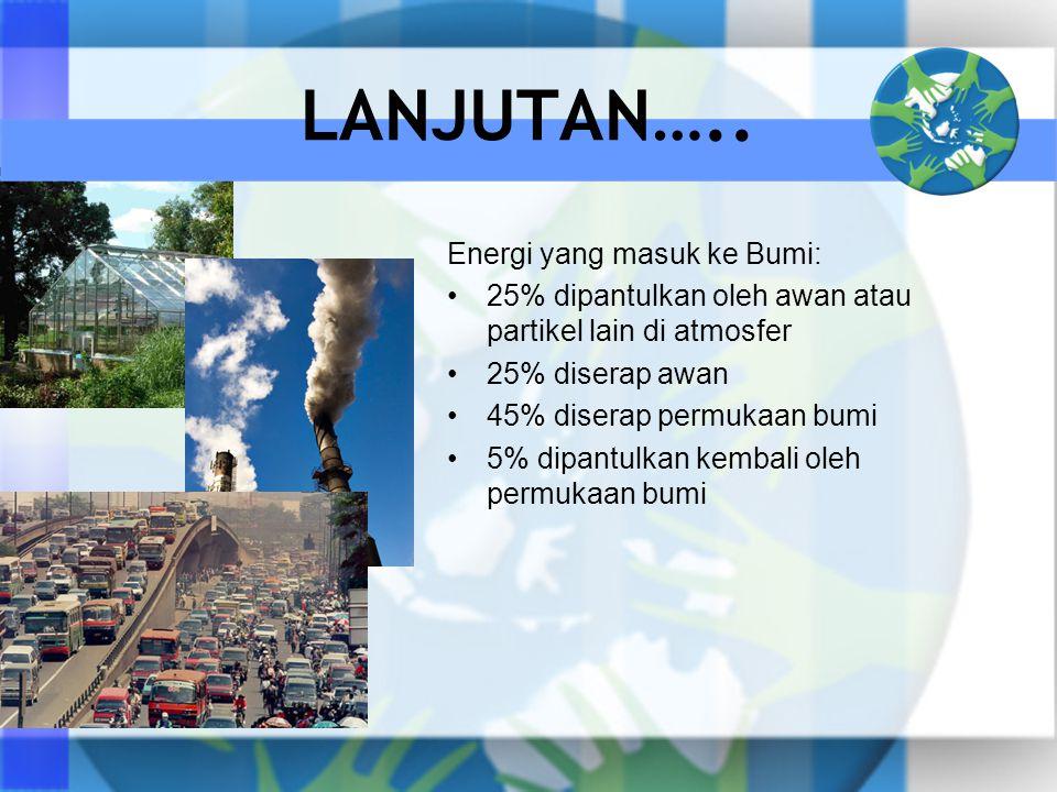 LANJUTAN….. Energi yang masuk ke Bumi: •25% dipantulkan oleh awan atau partikel lain di atmosfer •25% diserap awan •45% diserap permukaan bumi •5% dip