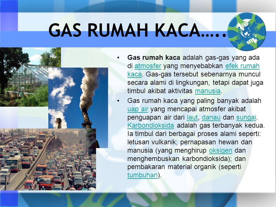 GAS RUMAH KACA….. •Gas rumah kaca adalah gas-gas yang ada di atmosfer yang menyebabkan efek rumah kaca. Gas-gas tersebut sebenarnya muncul secara alam